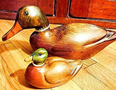 Two Awesome Hand Carved/painted Wood Mallard Duck Decoys Adult & Baby Unsigned