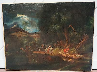 EXTREMELY rear Beautiful ANTIQUE Art of Forest,17th century! restored !Original