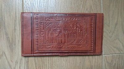 Vintage leather wallet purse boho camel egypt festival