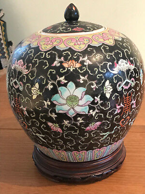 Vintage Large Oriental Lidded Pot Black With Colourful Flowers On Carved Base