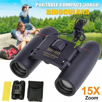 NEW 30×60 Compact Binoculars Foldable Roof Prism Pocket With Carry Case Camping