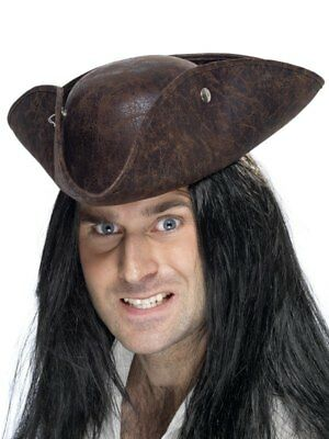 Adult Pirate Tricorn Brown Suede Hat Mens Fancy Dress Costume Party Accessory