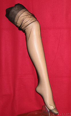 """Bas Pj One Size France """"chesterfield"""" Noir Nylon Voile Extensible Vintage Sexy"""