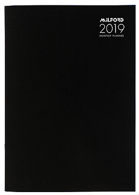 Diary 2019 Milford Planner A4 Month to View Black 441418 inc. Postage