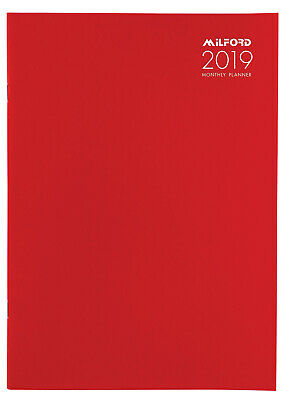 Diary 2019 Milford Planner A4 Month to View Red 441418 inc. Postage