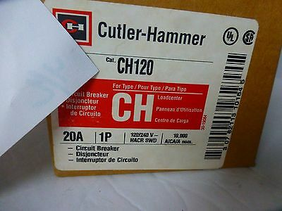 Cutler Hammer 20 Amp Breaker 1 Pole Ch120  4 Breakers (Lot#3)