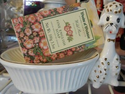 Vintage Poodle Soap/Trinket dish and Fine English Wild Rose soap
