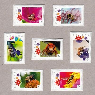 HONEY BEE = BUMBLEBEE = WASP = Set 7 Postage stamps MNH Canada 2016 [p16/03be7]