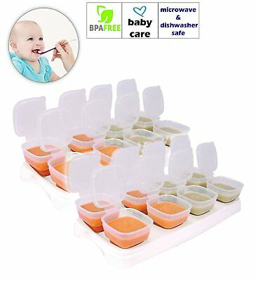 Baby Freezer Cube Trays. 2 x Trays 16 x 70ml Pots BPA Free Fridge Pots Puree