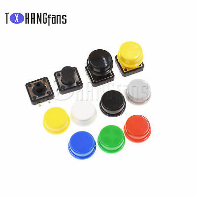 SMD/DIP Tactile Switch Tact Push Button 7Color Round Cap 12x12x7.3mm-12mm ATF