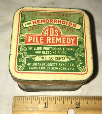 Antique A.d.s. Pile Remedy Vintage Tin Litho Hemorrhoid Medicine Can Apothecary