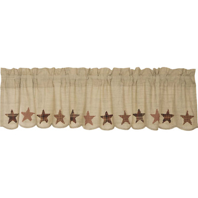 New Primitive Country Tan Red Brown RUSTY STAR HOMESPUN Valance Window Curtains