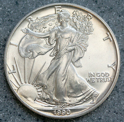 """1990"" Silver American Eagle .999 Fine 1 Oz. Pure  From Roll"