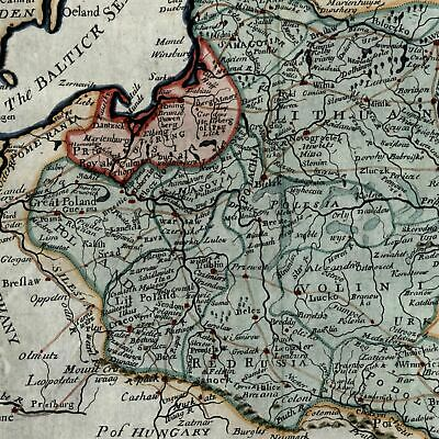 Poland in Palatinates Lithuania Europe Red Russia c.1730 Moll beautiful old map