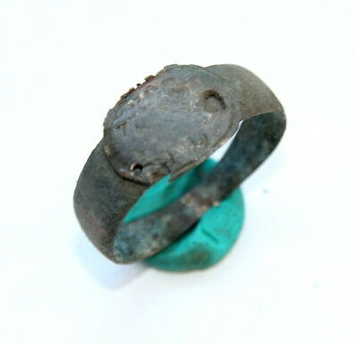Ancient Old Medieval Bronze Ring (FR04)
