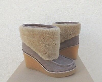 94181c219ae NEW WOMENS SIZE 9.5 Black Ugg Coldin Wedge Suede Sheepskin Ankle ...