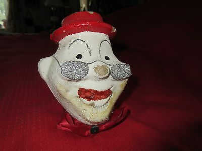 VINTAGE PAPER MACHE CANDY CONTAINER UGLY CLOWN HEAD w HAT & GLASSES  50'S OLD!!