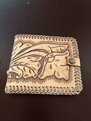BNWOT Vintage Hand Tooled Stamped Leather Wallet Ooak Festival Unique