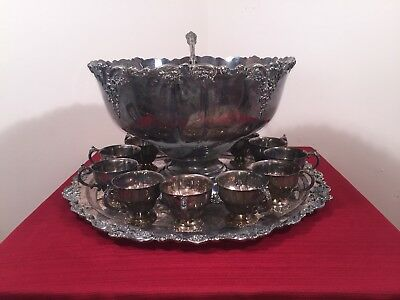Beautiful Wallace Baroque Silverplate Punch bowl Set, 12 Cups Platter & Ladle !