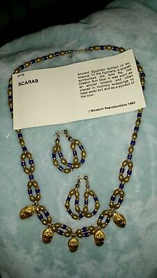 RARE Ancient Egyptian Scarab Charm Necklace & Pierced Earrings-Museum Repro 1984