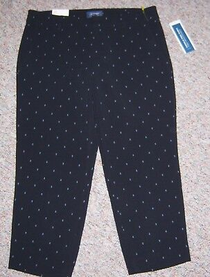 OLD NAVY Navy Anchor Print Harper Mid-Rise Dress Cropped Ankle Pants Size 10 NWT
