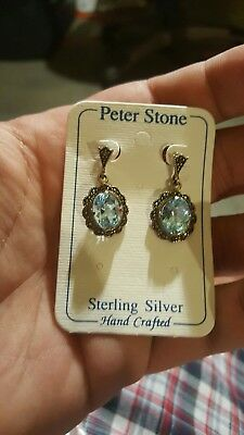 Antique Peter Stone Stearling  Silver Vintage Dangle Earings Gorgeous Color*925