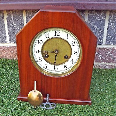 Junghans Mantel Clock Movement - Vintage Custom Case Working But Needs Attention