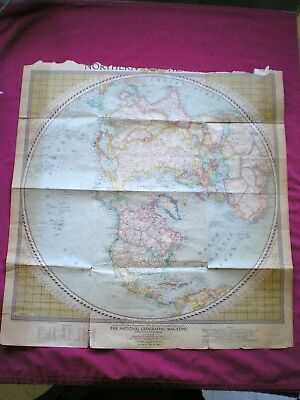 VINTAGE NORTHERN HEMISPHERE MAP National Geographic February 1946