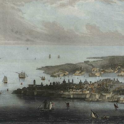 Malta c.1850's decorative birds-eye view engraved hand color print lovely