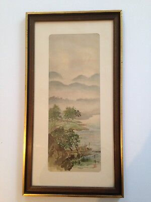 Antique Asian Painting Chinese on silk framed Signed NO RESERVE