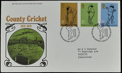 GB FDC 1973 County Cricket, Lord London NW H/S #C51505