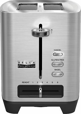 Bella - Pro Series 2-Slice Wide/Self-Centering-Slot Toaster - Stainless Steel