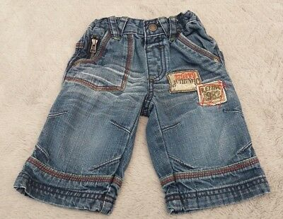 Baby Boys 100% Cotton Blue Denim Jeans With Patches (3-6 Months) - By Next