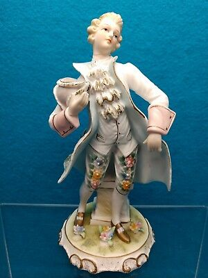 Lefton China Figurine-18th Century Colonial Man-Porcelain Bisque-KW2077A