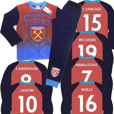 West Ham United Football Pyjamas Set with name & number Printed on BACK -Hammers