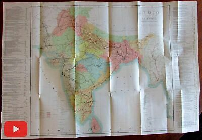India Railroad lines 1898 huge wall map S.I.O. Calcutta detailed color rare