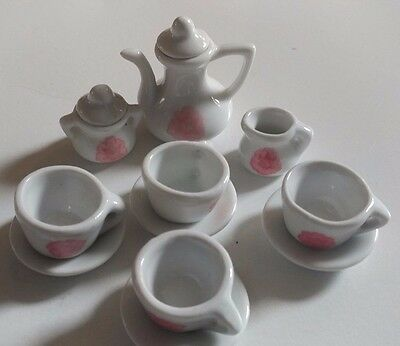 Miniature Ceramic Porcelain White Pink Rose 13 Piece Tea Set Doll House Service