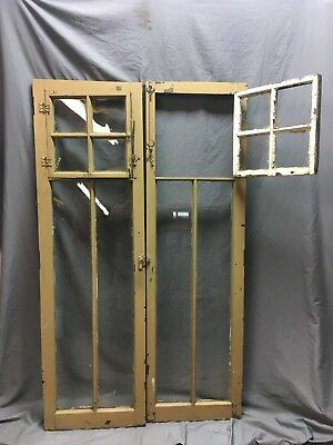 Pair Antique 6 Lite Casement Door Windows Cabinet Shabby 19X62 Vtg Old   156-18C