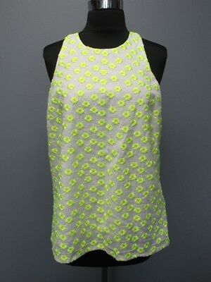 J CREW White Neon Yellow Green Cotton Sleeveless Embroidery Lined Top Sz 8 F4948