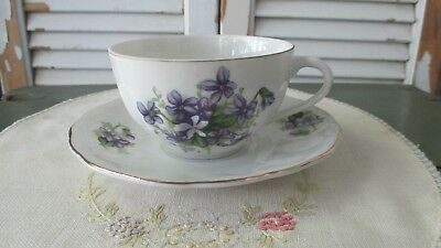 VTG Japan Porcelain Teacup Saucer SET Nippon SWEET Purple Violets Tea Cup