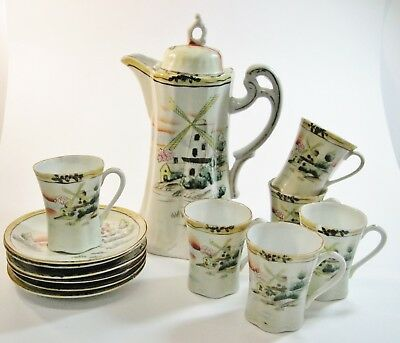 Antique Nippon Porcelain 13 Piece Handpainted Chocolate Pot Set Windmills