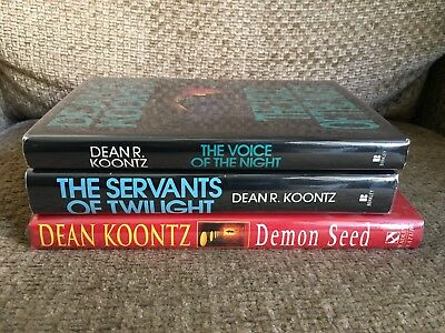 Vintage LOT of 3 Dean Koontz HARDCOVER hc/dj HORROR 1st Edition DEMON SEED Rare!