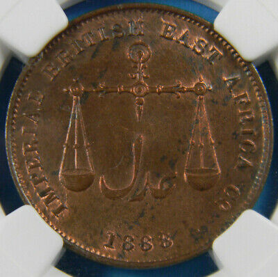 Mombasa IBEA 1888 c 1 Pice  Medium Letters Reverse NGC MS 64 RB