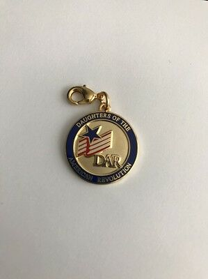 DAR Daughters of the American Revolution Charm Pendant Round Logo Flag Star