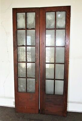 10 Lite Estate Find French Wood Door Glass Architectural Vintage 23 1/2 x 96 Ea.