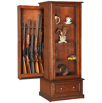 Hidden Gun Cabinet For Rifles Curio Wood Display Case With Glass