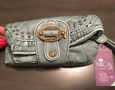 NWT Nica London Sea Breeze Rowan Studded Fish Wristlet Clutch Bag Distressed