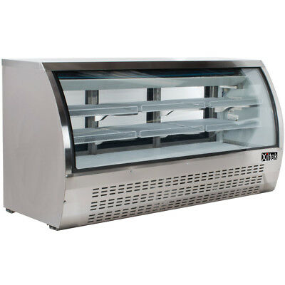 """New Xiltek 82"""" Commercial Refrigerated Curved Glass Display Deli Case"""