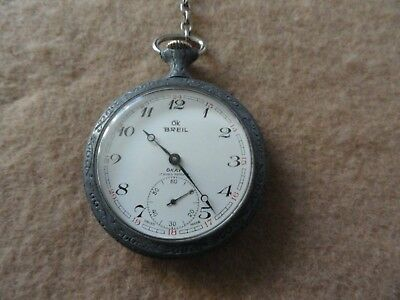 Swiss Made Breil Okay 17 Rubis Antichoc Mechanical Wind Up Vintage Pocket Watch