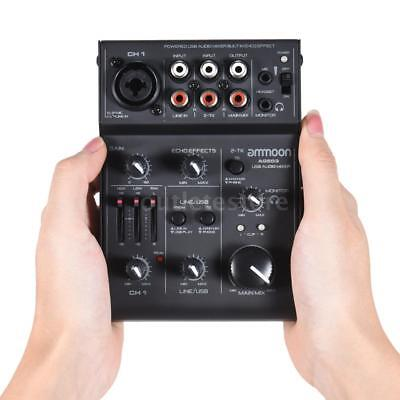 ammoon AGE03 5-Channel Mini Mic-Line Mixing Console Mixer High Quality T8Q4